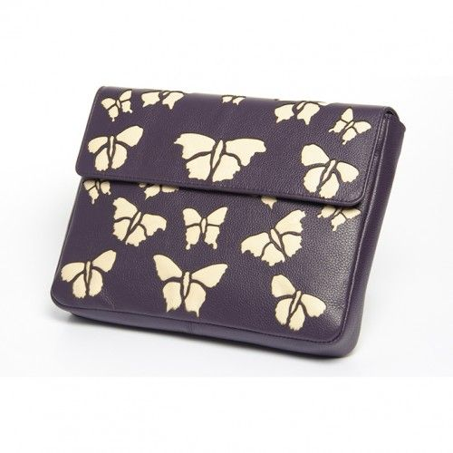 This exquisite British designed leather clutch bag is the ultimate companion. Created using soft supple leather and beautiful attention to detail this is a fabulous evening bag. It has beautiful cotton lining and a leather trimmed double pocket.  With a stunning laser cut butterfly design and a block reverse, it's sure to add glamour to any outfit.  Inside you will find a double pocket, ideal for your phone and make up.