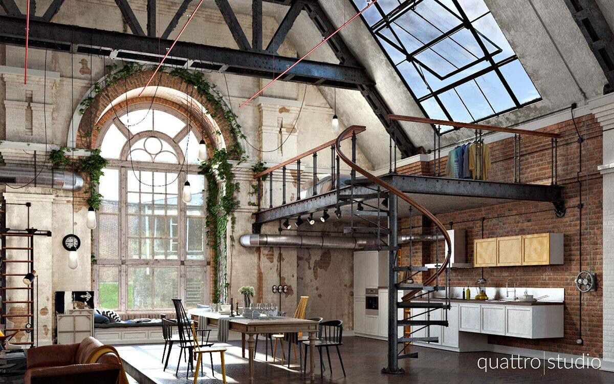 Take a look at this stunning industrial loft ...