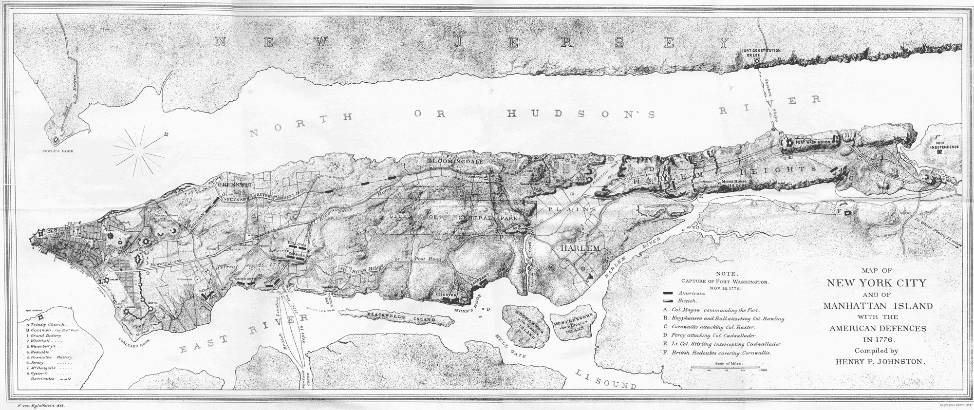 detailed map of the whole island of Manhattan or New York Island