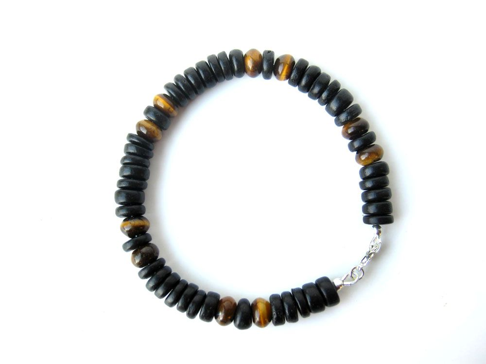 Mens tiger eye bracelet for a resort vacation by Jenny Hoople of Authentic Arts