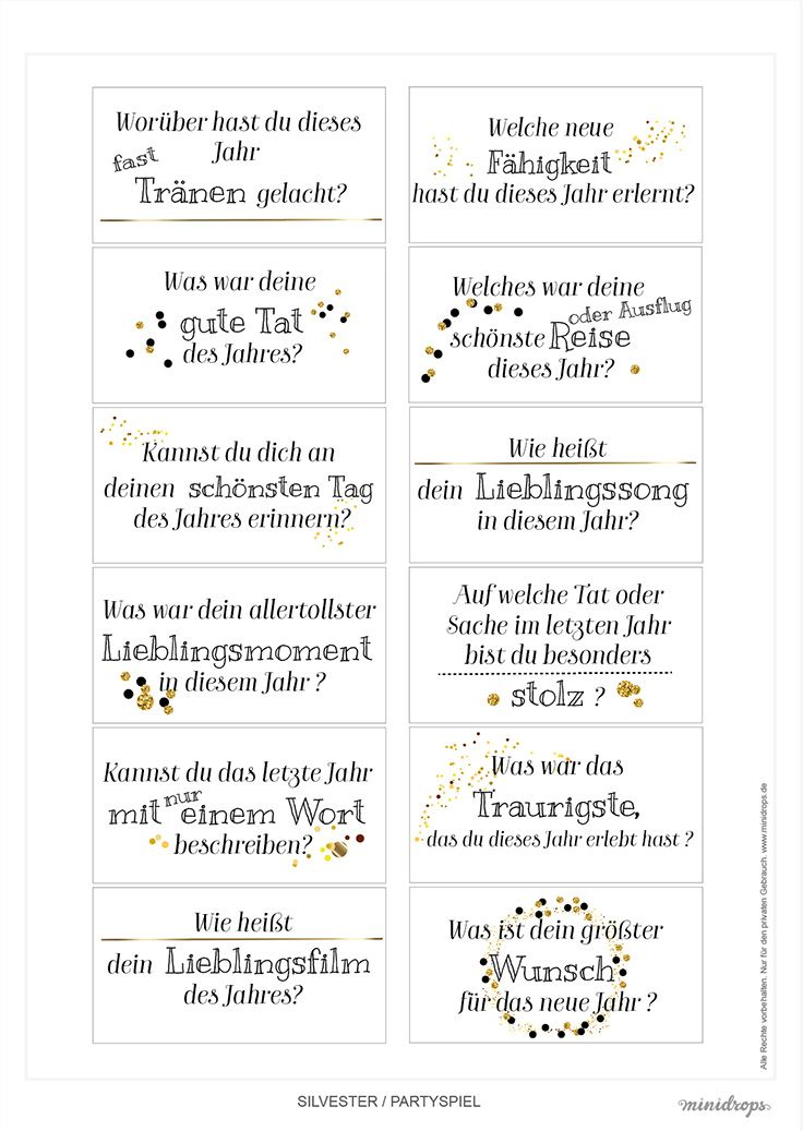 Silvester Jahresrückblick - Fragen zum Ausdrucken | Ideen ...