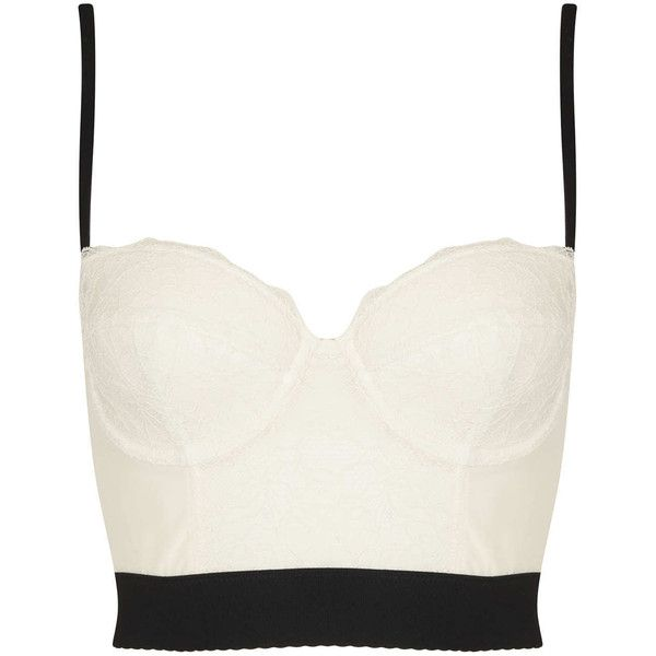 TOPSHOP Lace Bralet ($50) ❤ liked on Polyvore featuring tops, shirts, crop tops, bralet, monochrome, bralette tops, lace shirt, bralet crop top, lace top and white tops