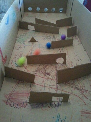 For Some Maths And Science Experiments You Could Make A Ball Game Indoor Games Diy Diy Cardboard Kids Playing