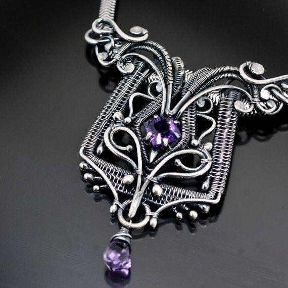 Amethyst Necklace Fine Silver Necklace  Regina by sarahndippity, $580.00