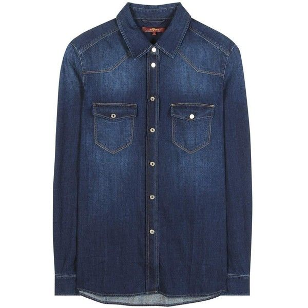 7 For All Mankind Classic Western Denim Shirt ($155) ❤ liked on Polyvore featuring tops, blue, denim, denim tops, western shirts, denim top, denim western shirt, blue shirt and 7 for all mankind