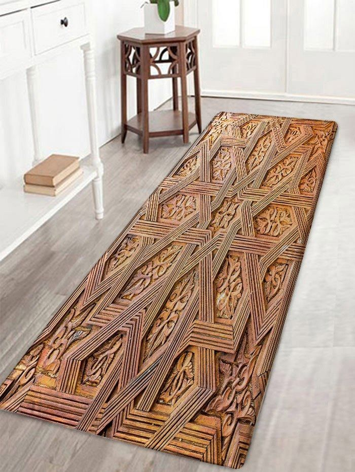 Carving Wood Pattern Skidproof Area Rug Wood patterns