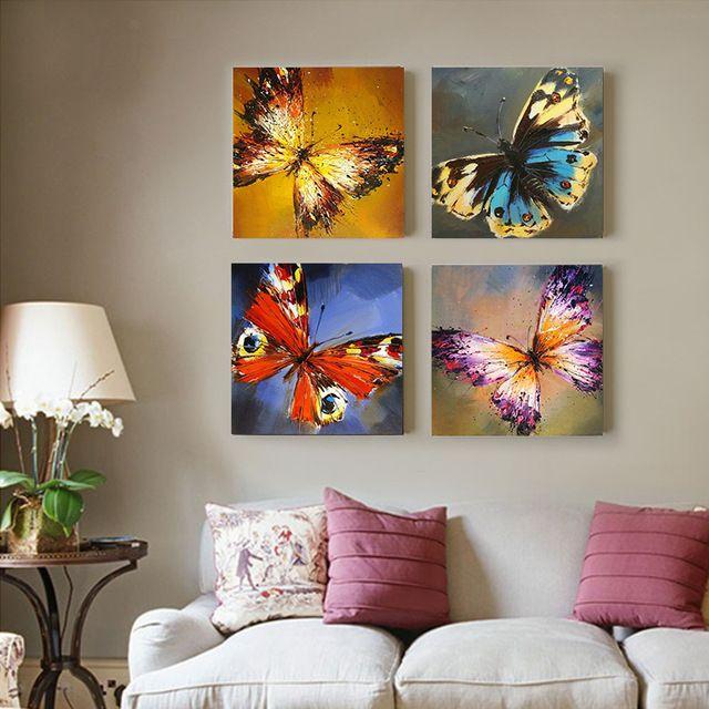 Abstracta Hermosa Mariposa Pintura Al Óleo pintado a Mano Sobre ...