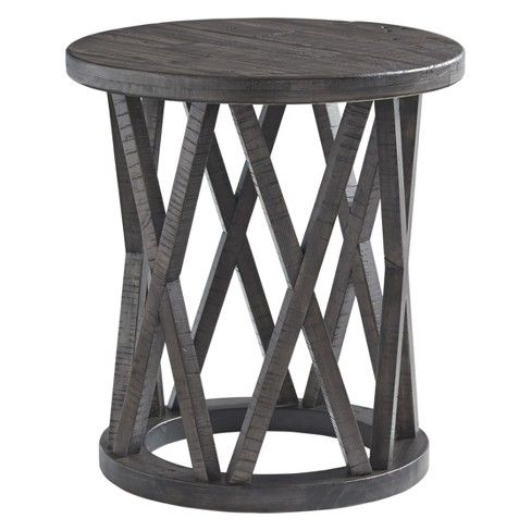 sharzane round end table taupe signature design by ashley house rh pinterest com