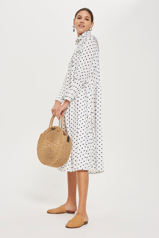 72763167a0 Polka Dot Frill Midi Dress