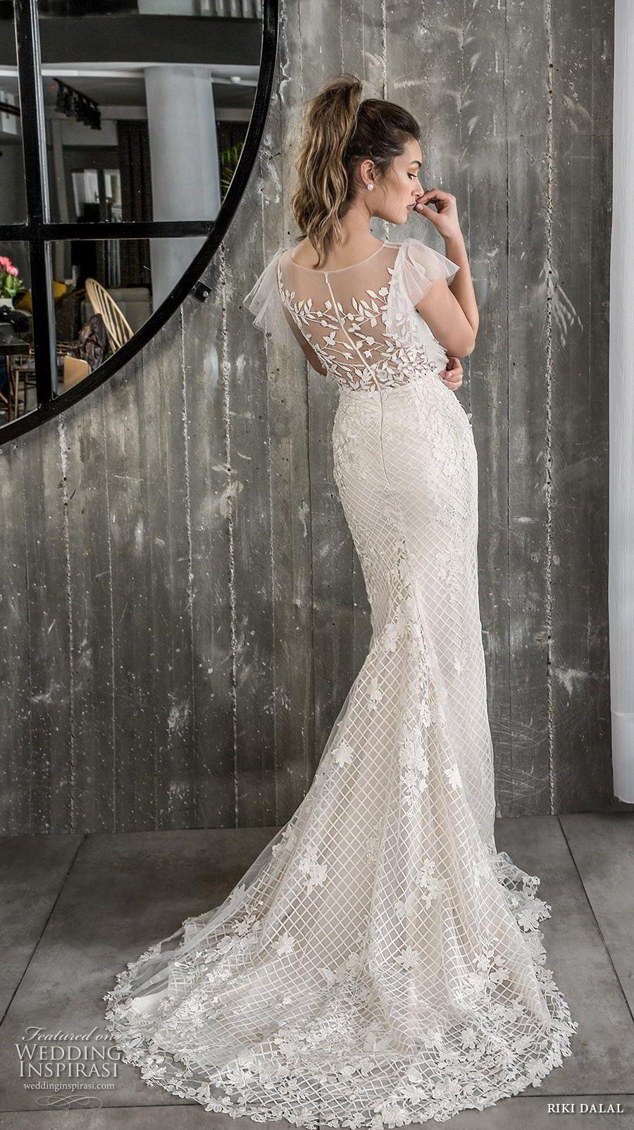 e5575e982c riki dalal 2018 glamour bridal cap sleeves illusion bateau neck full  embellishment romantic fit and flare wedding dress sheer lace back short  train (3) bv ...