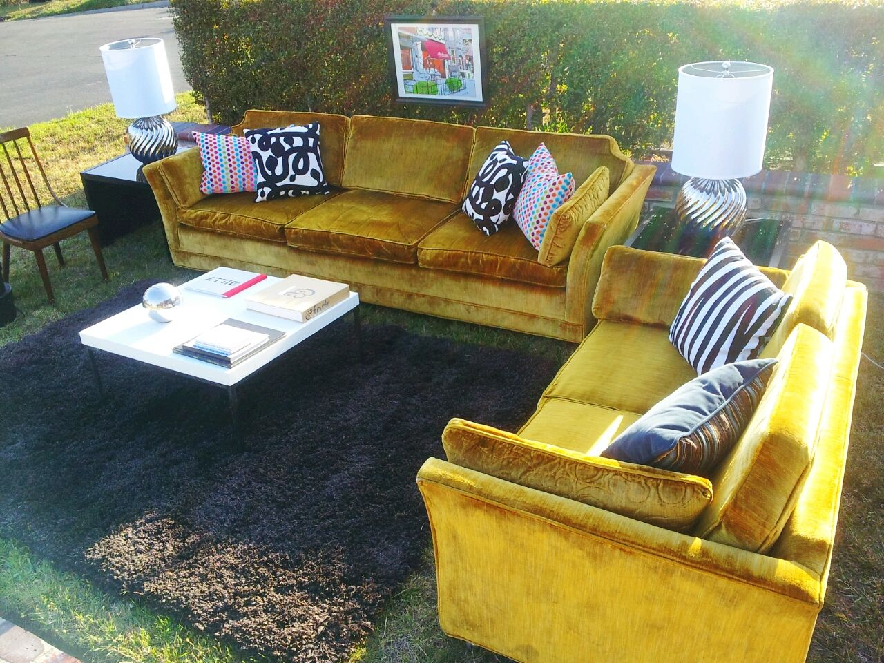 Well known Vintage Mustard Yellow Velvet Couch and Love Seat $550.00 for set  WB84