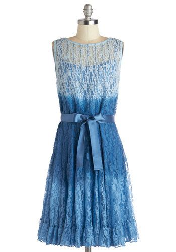 As Fade Would Have It Dress. Today, you stand alongside your dearest friend on the day of her ceremony, looking delightful in this blue lace dress. #blue #wedding #modcloth