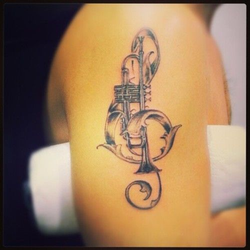 Some Darker Lines Needed But Cool Trumpet Tattoo Music Tattoo