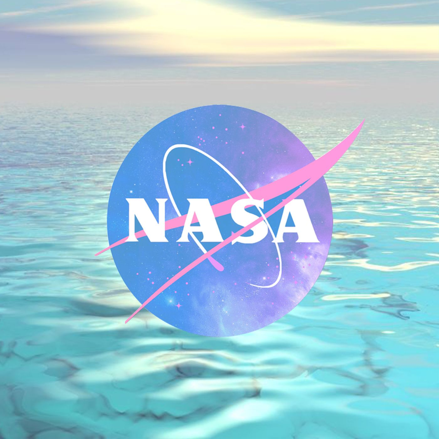SIKE VAPORWAVE PASTEL SEA AND NASA T SHIRT IN WHITE · SIKE