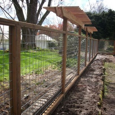 Wire Mesh Fencing With Wood Frame Modern Landscaping