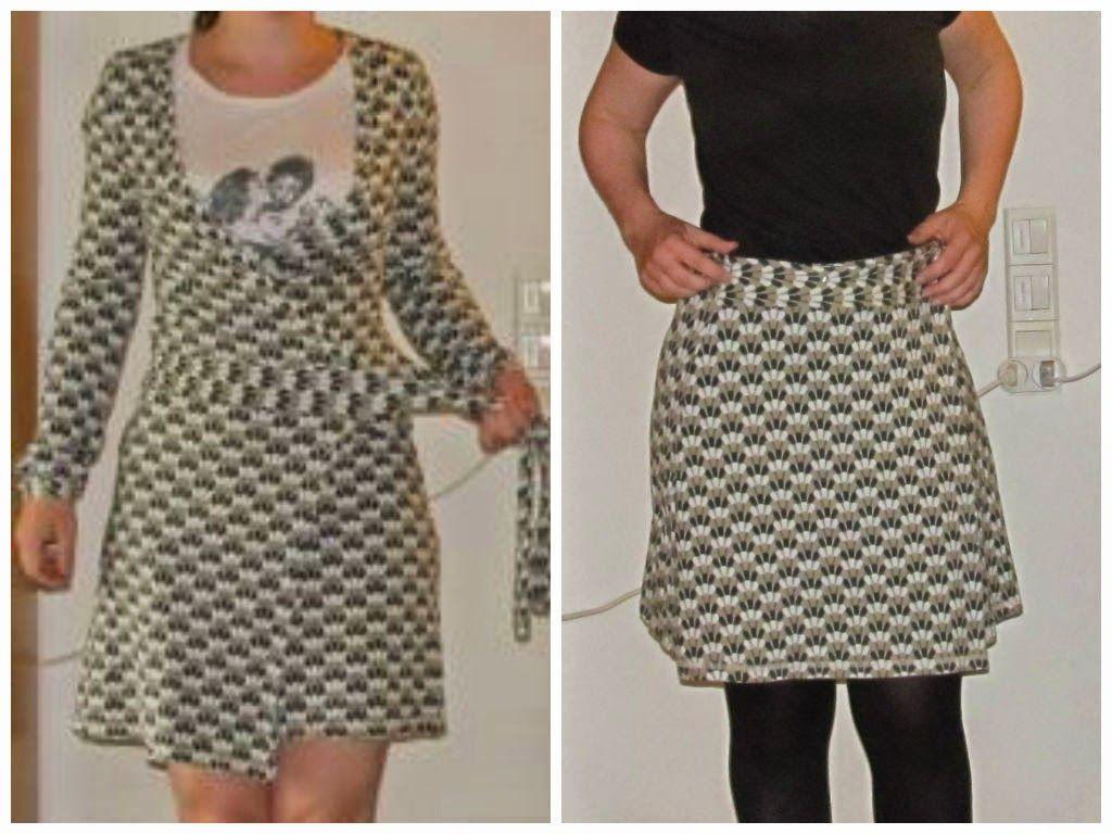 Wrap skirt from wrap dress jersey refashion DIY. Saga i farver: Slåomkjole til nederdel