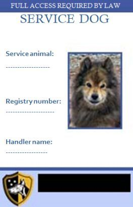 Service Dog Id Card Service Dog Certificate Templates In