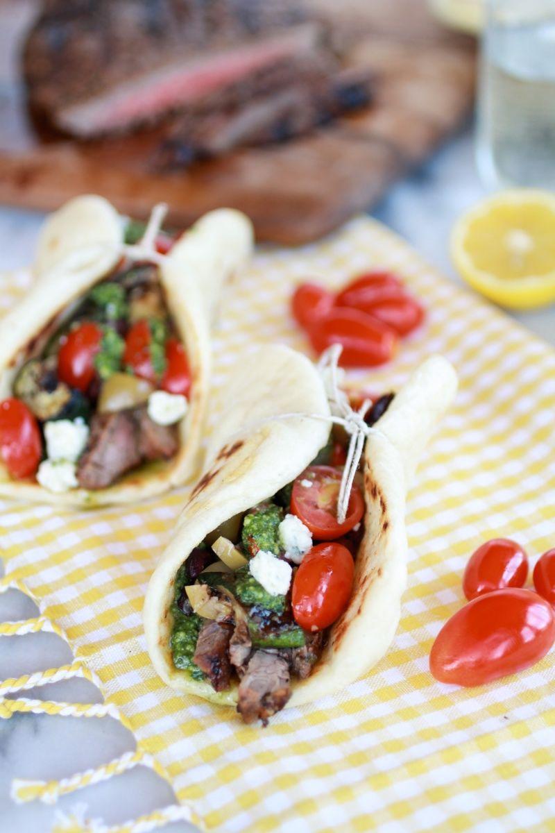 Greek Steak and Pesto Salad Gyros   http://www.halfbakedharvest.com/