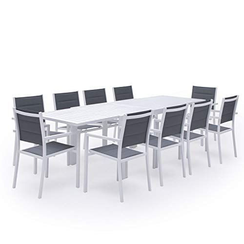 Salon De Jardin Venezia Extensible En Textilene Gris 10 Places Aluminium Blanc Salon De Jardin Decoration Maison Table Basse
