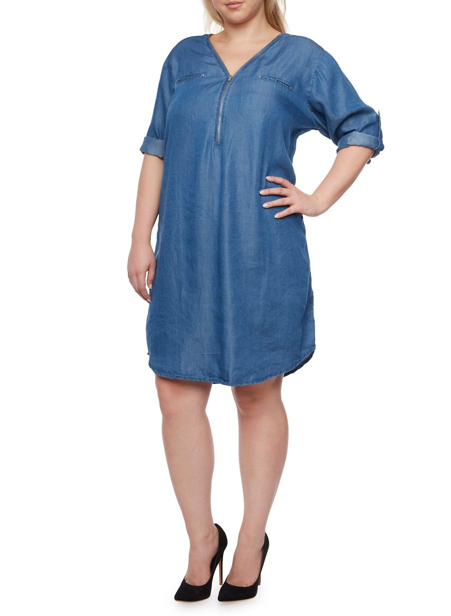 Plus Size Chambray Shirt Dress With Zip Frontdenim Wardrobe