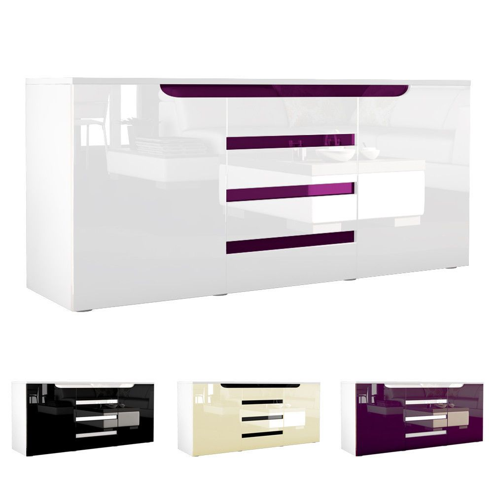 Sideboard Chest Of Drawers Cabinet Sylt White High Gloss Amp