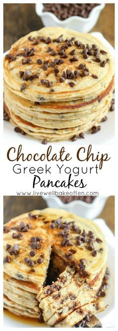 These chocolate chip pancakes make a perfect light and healthy breakfast and are packed with extra protein from the greek yogurt!