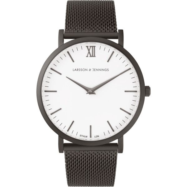 Larsson & Jennings Chain Metal CM | Anthracite Watch (€310) ❤ liked on Polyvore featuring jewelry, watches, logo watches, buckle watches, chain jewelry, womens jewellery en water resistant watches