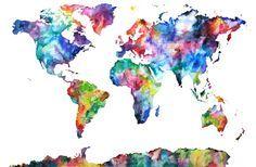 artsy world map | DIY | Watercolor, Map, Painting