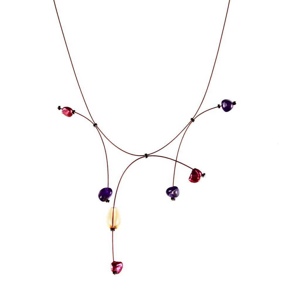 Harbor Necklace with Czech glass beads on copper jewelry wire by ...