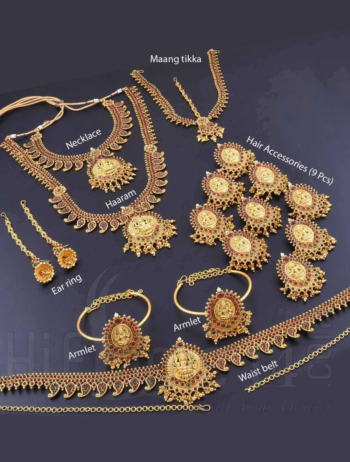 Indian Bridal Ethnic Jewelry Traditional Gold Plating Necklace Wedding Set 9 Pc. Bridal & Wedding Party Jewelry