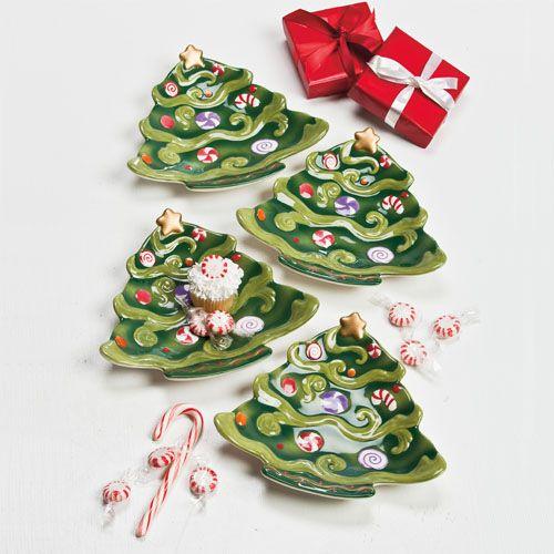 Christmas Tree Plates -  Set of 4