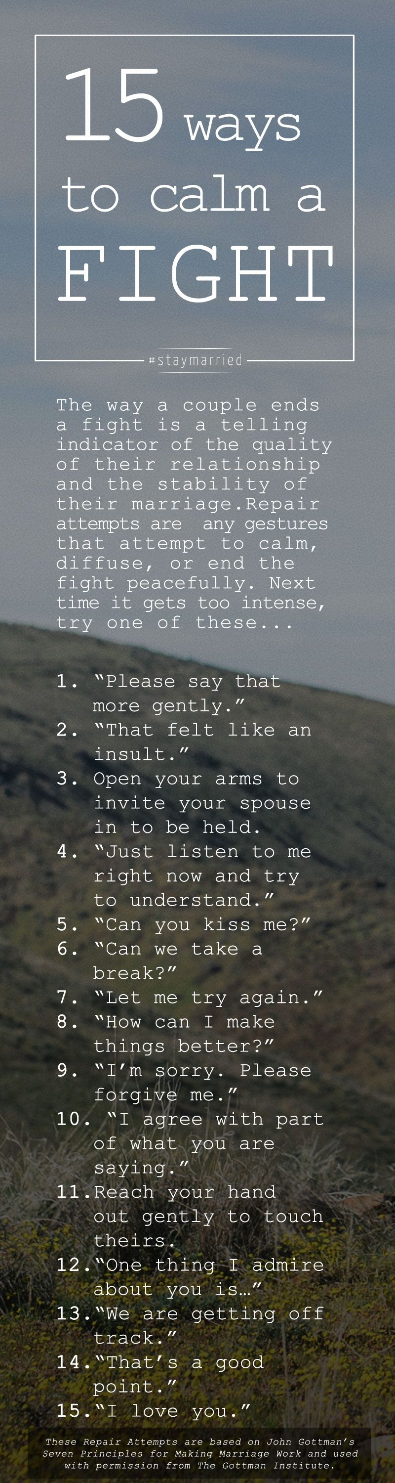 15 Ways To Calm A Fight How To Make And Receive Repair Attempts