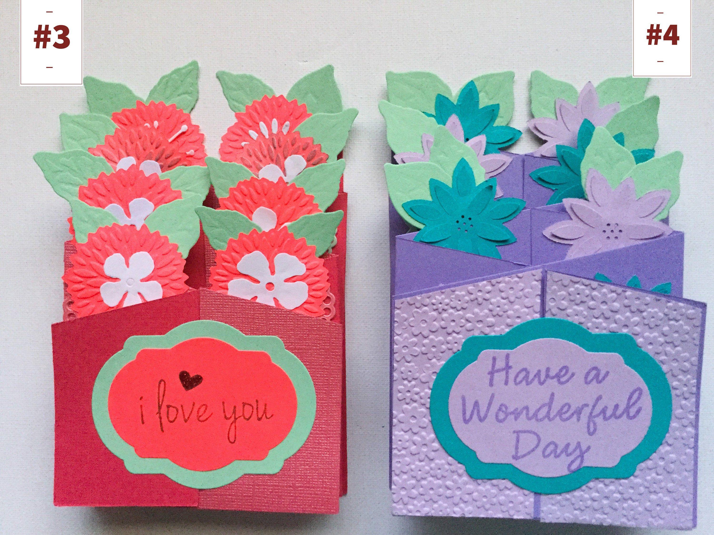 cascade cards  3 d flower pop up card  purple flowers