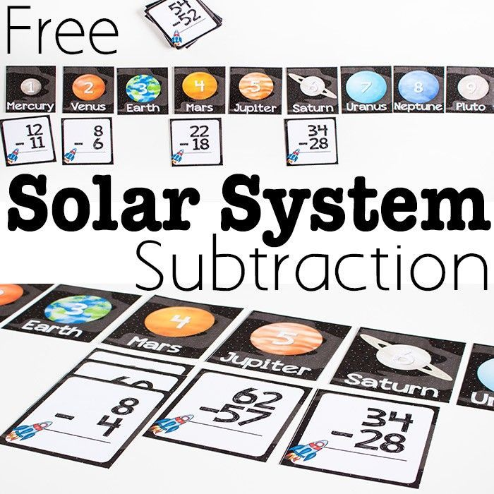 Free Printable Solar System Subtraction Activity Subtraction Activities Solar System Unit Planets Activities