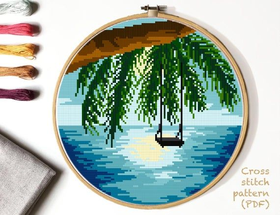 Photo of Modern nature cross stitch pattern, landscape, sea, beach, palm, watercolor, ocean, embroidery,  INSTANT DOWNLOAD PDF
