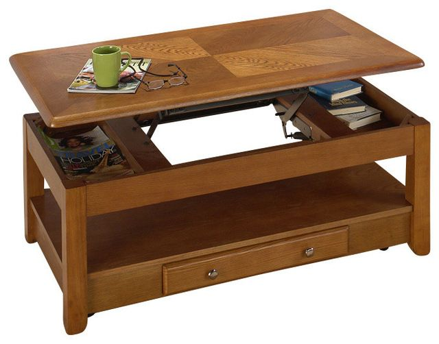 Jofran 480 1 Sedona Oak Lift Top Tail Table Traditional Coffee Tables