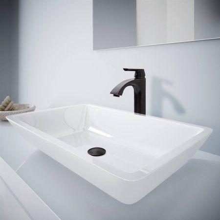 Large Flat Edged Rectangular White Phoneix Stone Vessel Bathroom