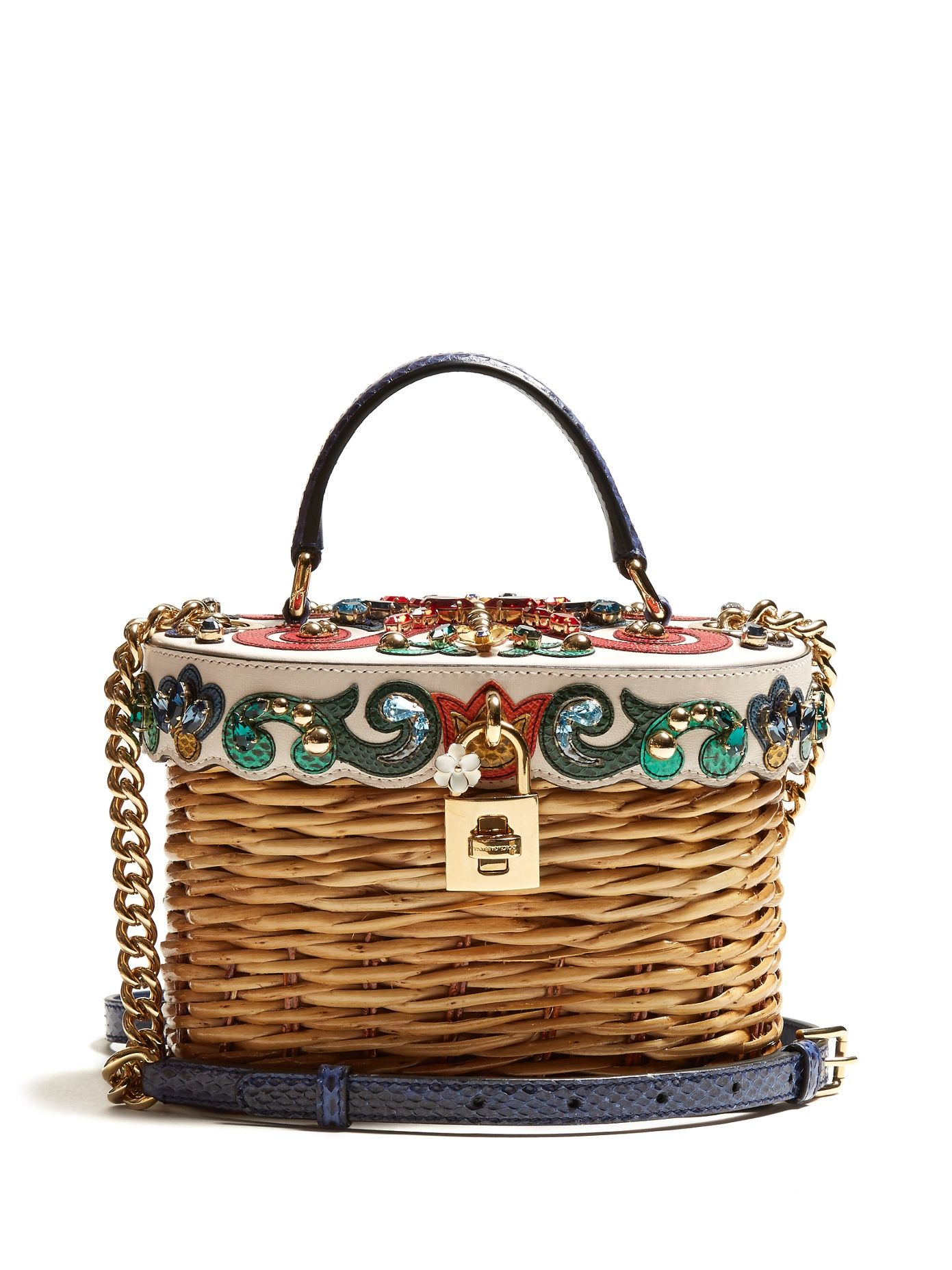4ecf978558b Click here to buy Dolce   Gabbana Crystal-embellished leather-trimmed  basket bag at MATCHESFASHION.COM