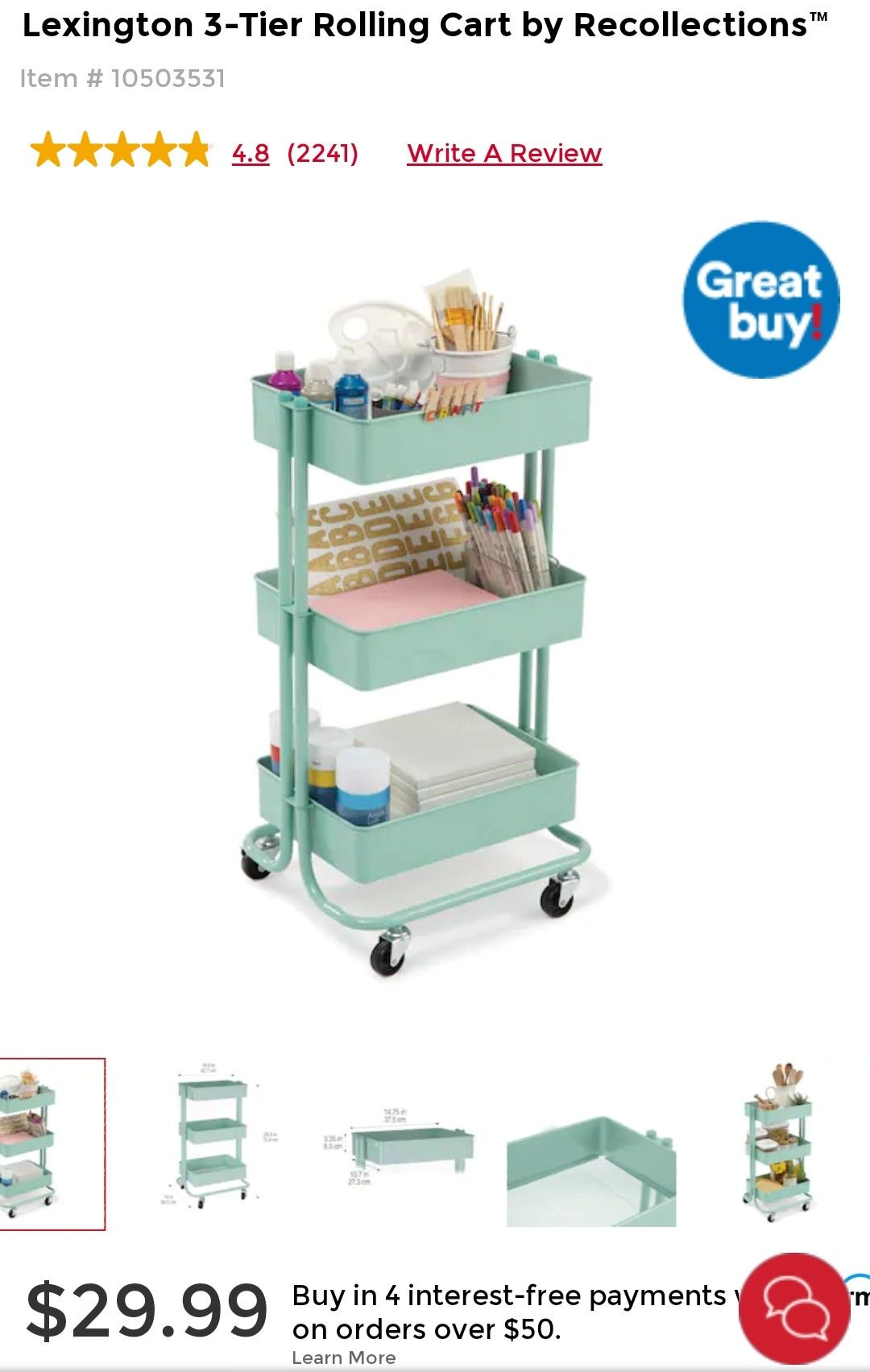 Lexington 3 Tier Rolling Cart By Simply Tidy In 2021 Rolling Cart Utility Cart Teal Shelves