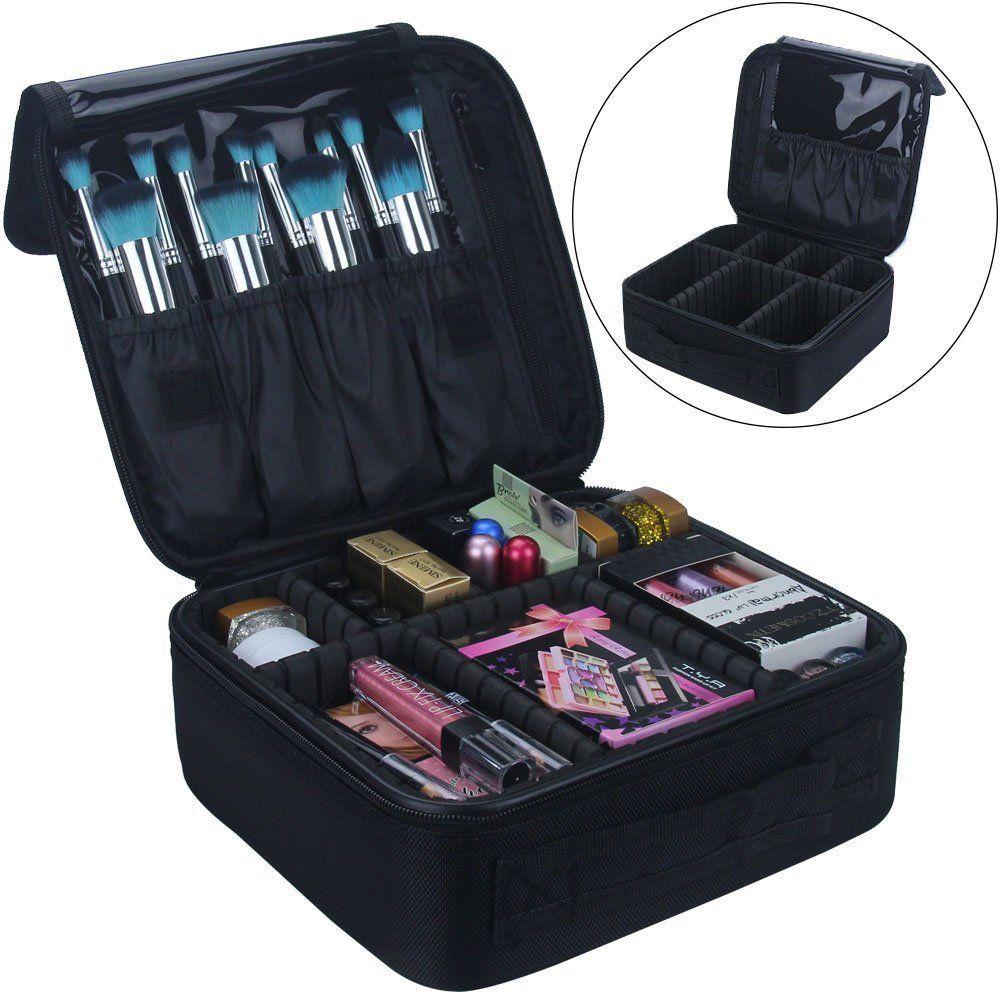 f8ff9e0d96b2 Travel Makeup Train Case Cosmetic Organizer Portable Artist Storage ...
