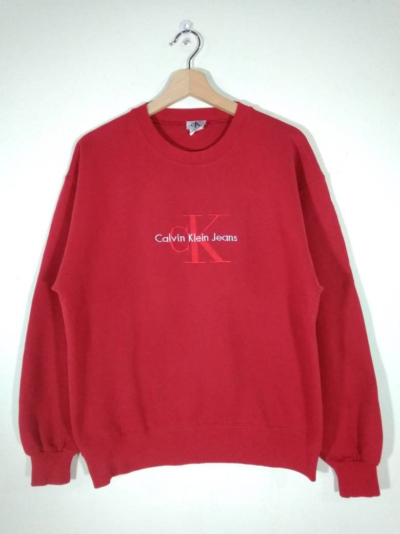 Reserved Calvin Klein Jeans Red Embroidered Big Logo Crewneck Vintage Sweatshirt Sweater Jumper Size M Vintage Sweatshirt Calvin Klein Jeans Sweatshirts