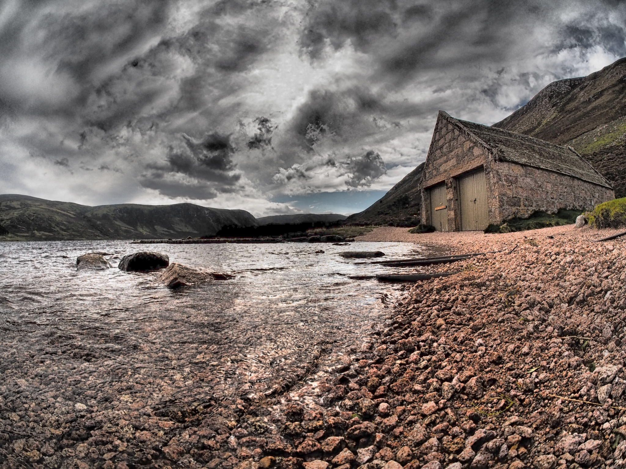 The boathouse at Loch Muick, The Cairngorms, Scotland.