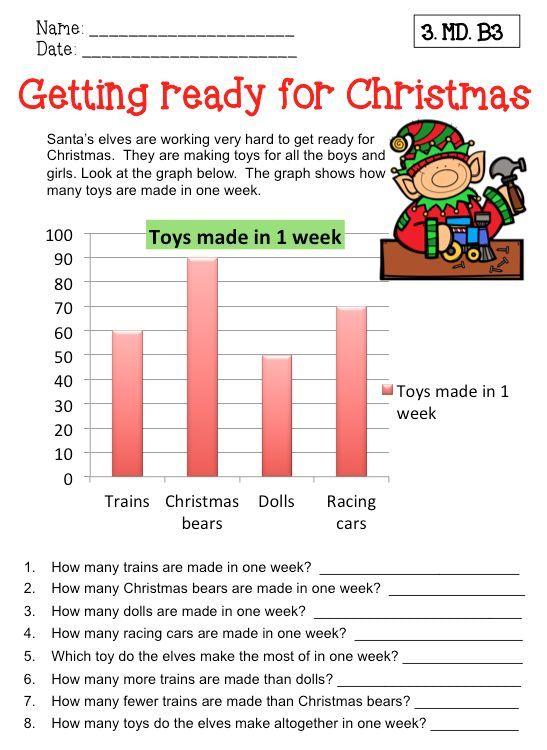 Christmas Math Data And Graph Worksheets Grade 3 Christmas