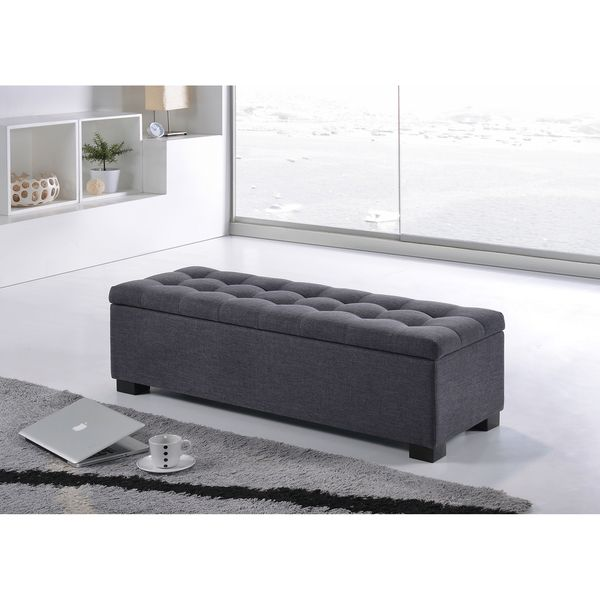 Stylish End Of Bed Bench Storage Seating Bedroom Benches: Baxton Studio Alcmene Modern And Contemporary Dark Grey