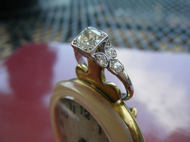 Platinum Art Deco Ring From The 1920s Features A Nice 0.75