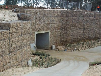 A Culvert With A Culvert Headwall Made Of Gabion Cages Gabion Cages Cage Water Management