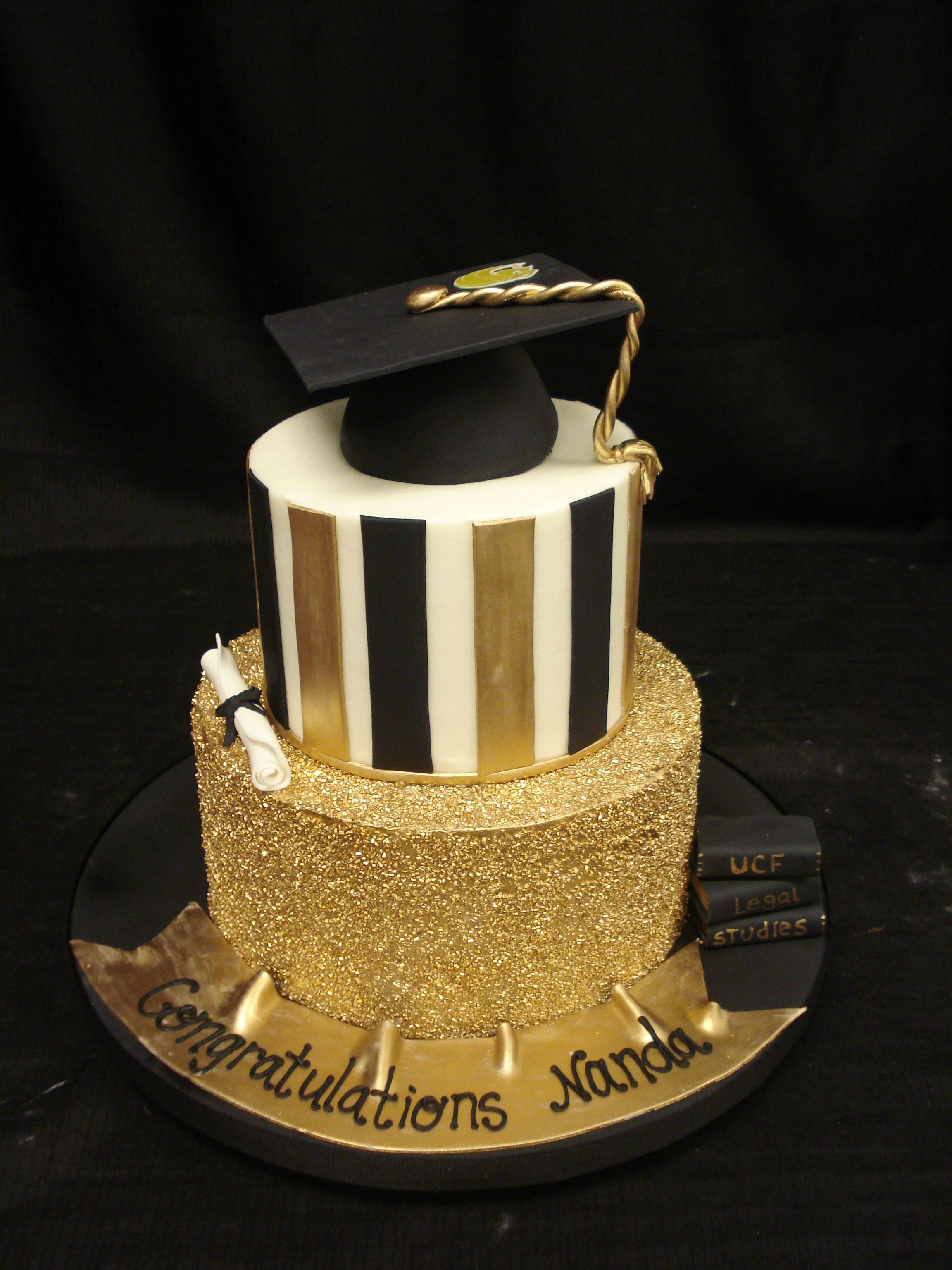 Ucf Graduation Cake With Buttercream Base Fondant Banner Books Diploma And Ca Graduation Party Cake Graduation Cakes Cake