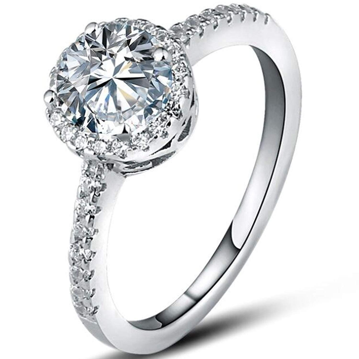 iSilver 925 Sterling Silver Solitaire CZ Diamond Wedding
