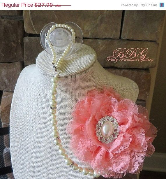 ON SALE 4in1 Beaded Pacifier Holder Shabby by BabyBoutiqueGallery, $22.39