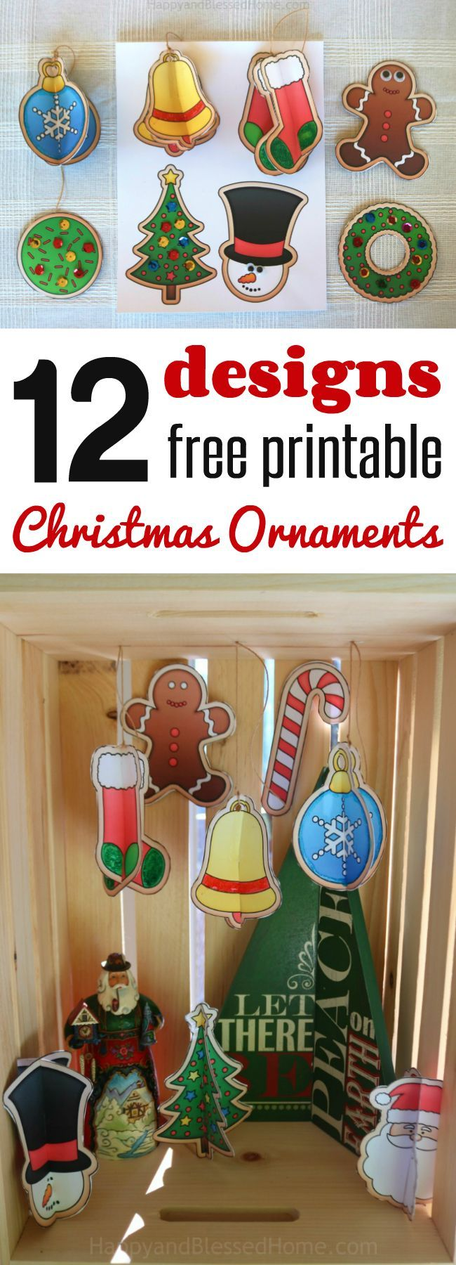 12 FREE Christmas Ornaments Printables And A Craft Tutorial
